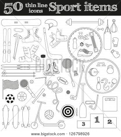 Set of 50 thin line sport icons. Vector illustration.