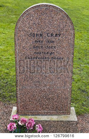 EDINBURGH SCOTLAND - MARCH 11TH 2016: The grave of John Gray in Greyfriars Cemetery in Edinburgh on 11th March 2016. John Gray was the owner of the famous Greyfriars Bobby dog.