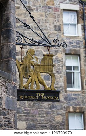 EDINBURGH SCOTLAND - MARCH 9TH 2016: The sign above the entrance to The Writers Museum located in Lady Stairs Close in Edinburgh on 9th March 2016.
