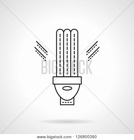 Eco-friendly innovation technology. LED, lamp, lighting equipment and devices for energy saving. Flat line style vector icon. Single design element for website, business.