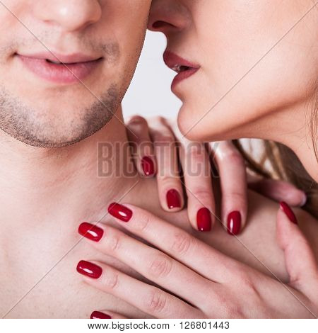 Horizontal view of couple having erotic moment
