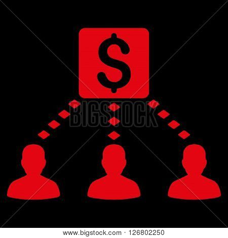 Money Recipients vector toolbar icon. Style is flat icon symbol, red color, black background, rhombus dots.