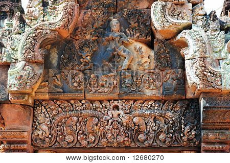 Beautiful Red Sandstone Carving At The Banteay Sre