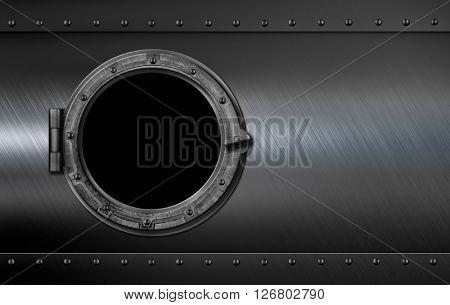 metal submarine or ship porthole window 3d illustration