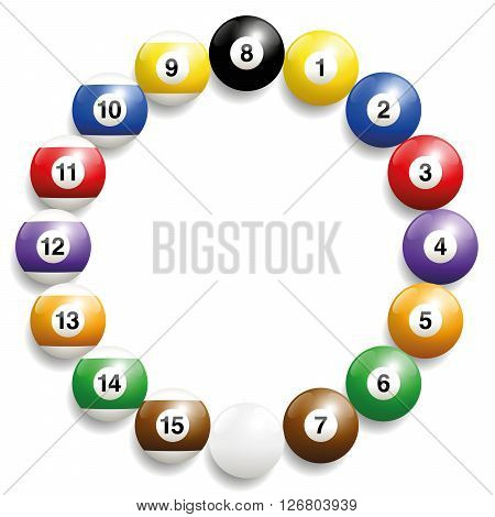 Billiard balls - round frame formed by the set of sixteen balls. Three-dimensional and realistic looking, isolated vector illustration on white background.