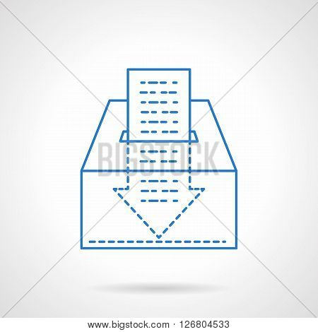 Box for contributions and abstract arrow shaped paper check. Charitable foundations. Humanitarian assistance, volunteering. Flat line style vector icon. Single design element for website, business.