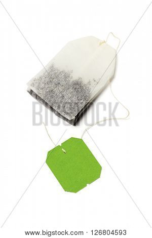 Green Tea Bag With Blank Label on White Background