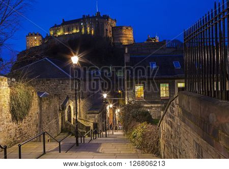 A beautiful dusk view of Edinburgh Castle from the Vennel Scotland. ** Note: Visible grain at 100%, best at smaller sizes