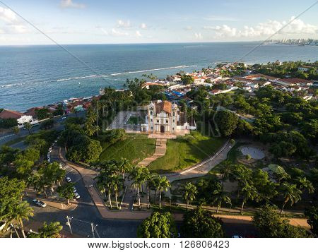 Aerial View of Church of Saint Anthony of Carmo (Igreja do Carmo), Olinda, Pernambuco, Brazil