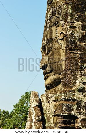 Smiling Stone Faces In The Temple Of Bayon