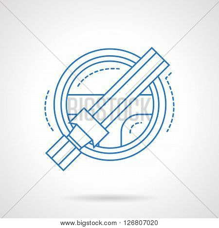 Automobile steering wheel and seat belt. Protection system for driver. Safe riding. Car insurance theme. Flat blue line style vector icon. Single design element for website, business.