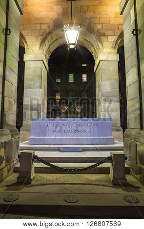 EDINBURGH, UK - MARCH 8TH 2016: Cenotaph Memorial at the City Chambers in Edinburgh dedicated to those who gave their lives during both world wars, taken on 8th March 2016.