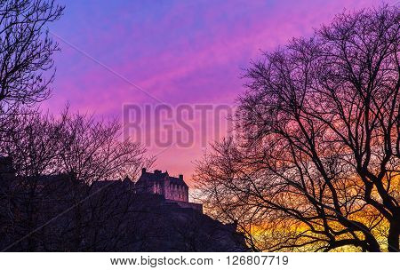 A beuatiful view of Edinburgh Castle at dusk Scotland.