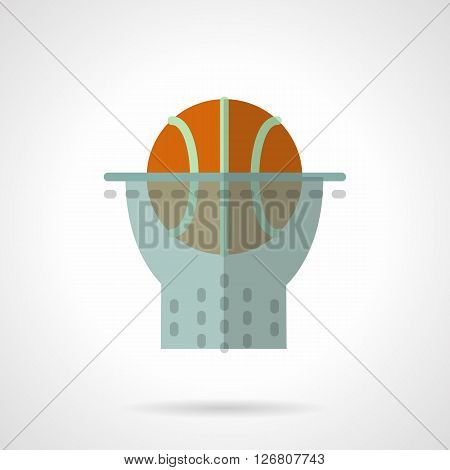 Orange basketball ball in a hoop with net. Sport equipment. Basketball championship. Basketball gym. Sports hobby. Flat color style vector icon. Web design element for site, mobile and business.