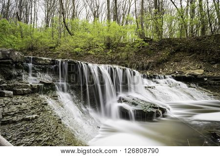 Waterfall in Park Setting with Smooth Flow/Zen Like water flow.