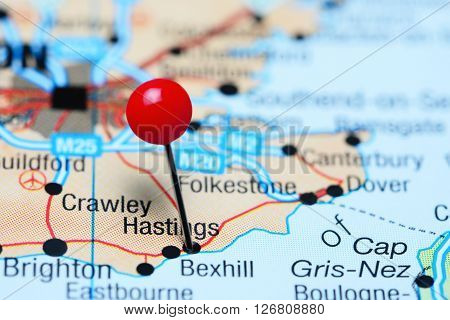 Hastings pinned on a map of UK