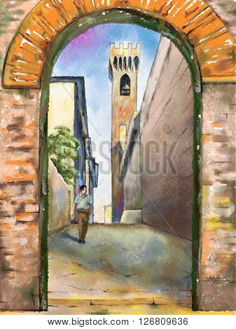 Street view of a medieval city in Tuscany, central Italy. Original watercolor.