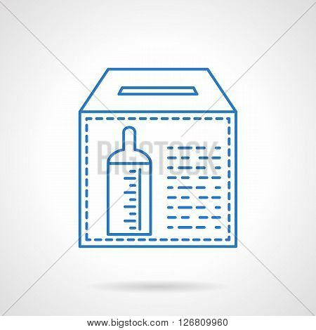Donation box with baby bottle sign for contributions. Charitable foundations. Financing of orphanages. Flat blue line style vector icon. Single design element for website, business.