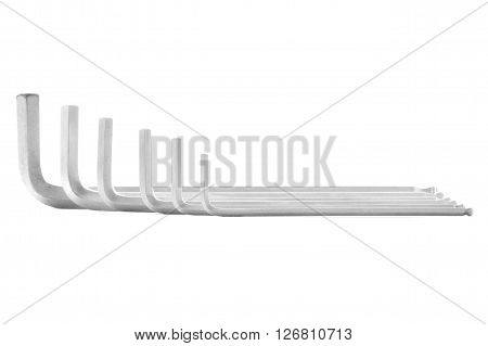 Allen key steel tool for repair isolated on white background