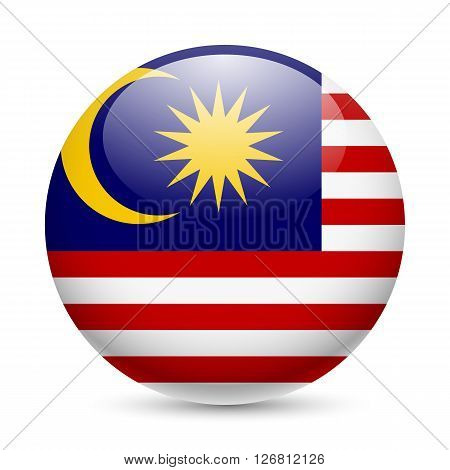 Flag of Malaysia as round glossy icon. Button with Malaysian flag