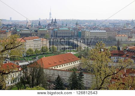 Prague, Czech Republic - April 23, 2013: The Aerial View Of Prague In A Morning Fog From Hradcany Di