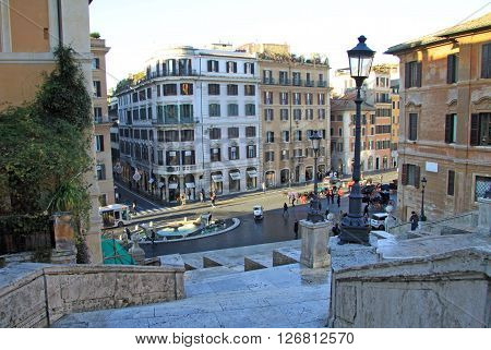Rome, Italy - December 20, 2012:  The Piazza Di Spagna And The Spanish Steps In Rome, Italy.
