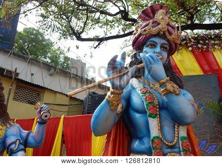 HYDERABAD,INDIA-APRIL 22: closeup of Hindu God Krishna in a temporary temple out doors on Hanuman jayanti celebration and procession April 22,2016 in Hyderabad,India