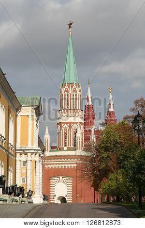 St. Nicholas (nikolskaya) Tower In Moskow Kremlin. Moscow, Russia