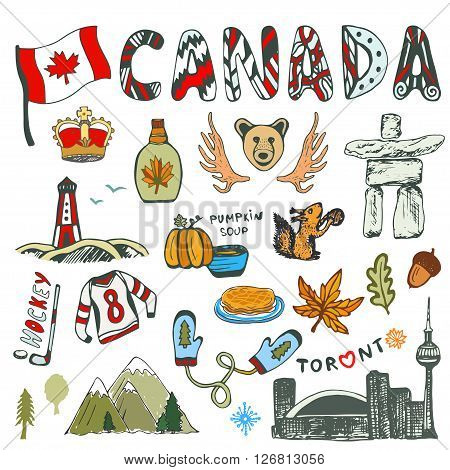 Sketch hand drawn collection of Canada symbols. Canadian culture had sketched set. Vector travel illustration with doodle lettering.