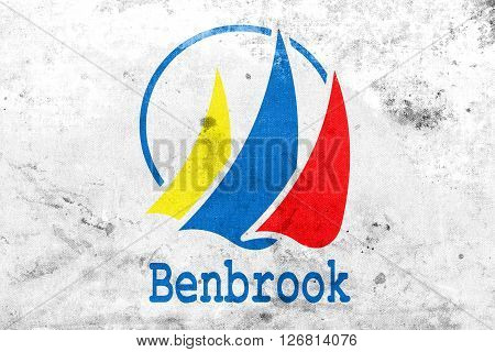 Flag Of Benbrook, Texas, With A Vintage And Old Look