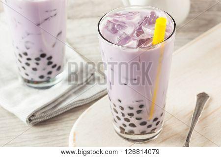 Homemade Taro Milk Bubble Tea With Tapioca