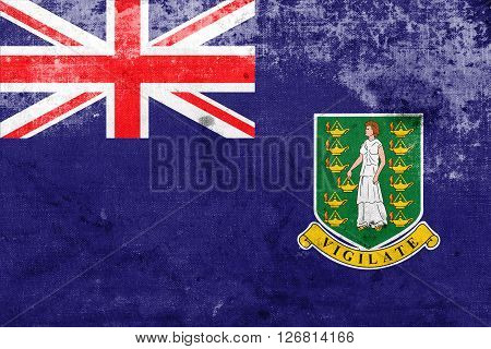 Flag Of British Virgin Islands, With A Vintage And Old Look