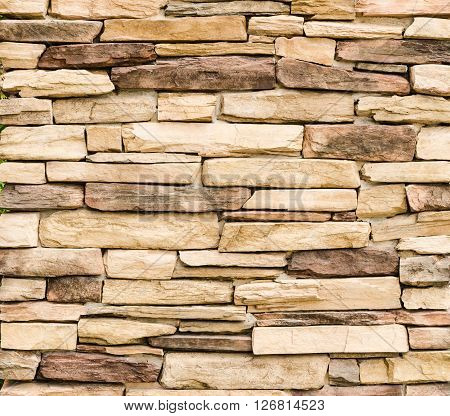 Pattern Vintage Color Texture of Modern Style Design Decorative Uneven Cracked Real Stone Wall Surface with Cement for Construction Work