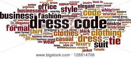 Dress code word cloud concept. Vector illustration