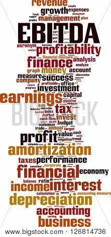 EBITDA word cloud concept. Vector illustration on white