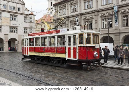 PRAGUE CZECH REPUBLIC - NOVEMBER 4 2012: The old tram on streets of Prague in the central part of the city