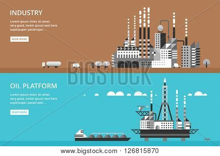 Oil platform in sea background. Industrial illustration in flat style.