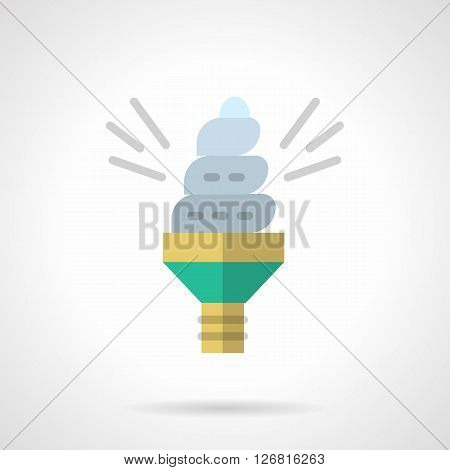 Illuminated spiral energy-saving lamp. Alternative lighting. Solution of environmental issues and ecology ideas. Flat color style vector icon. Web design element for site, mobile and business.