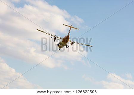 Double propeller commercial passenger airplane