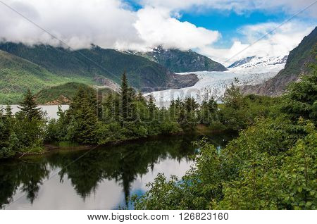 Breathtaking view of Mendenhall Glacier. Mendenhall valley, Juneau, Alaska, United States