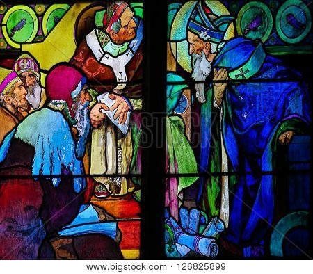 Stained Glass Of Saints Cyril And Methodius By Alphonse Mucha