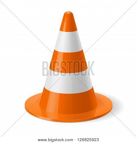 White and orange traffic cone. Safety sign used for prevention of accidents during road construction