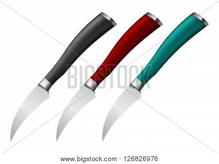 Vector illustration of Knives for vegetables with handle in different color