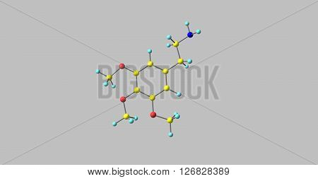 Mescaline is a naturally occurring psychedelic alkaloid of the phenethylamine class known for its hallucinogenic effects comparable to those of LSD. 3d illustration.