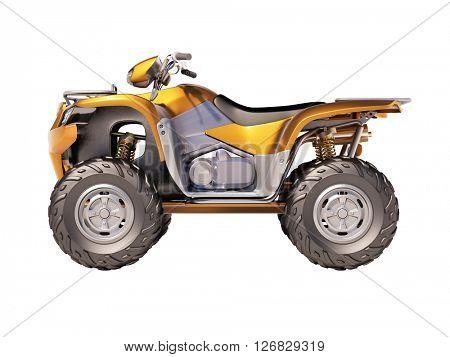 3d rendering. ATV quad bike isolated on white background