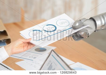 Important data. Close up of papers in hands of robot who is giving them to the woman