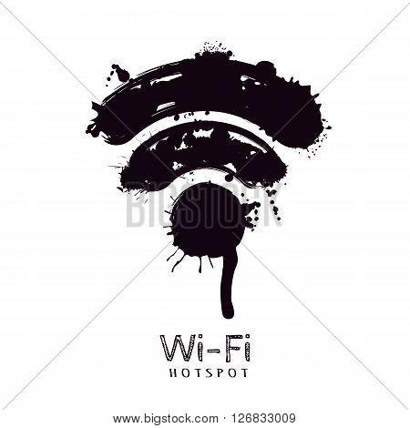 Vector Watercolor Illustration Of Wi-fi Icon.
