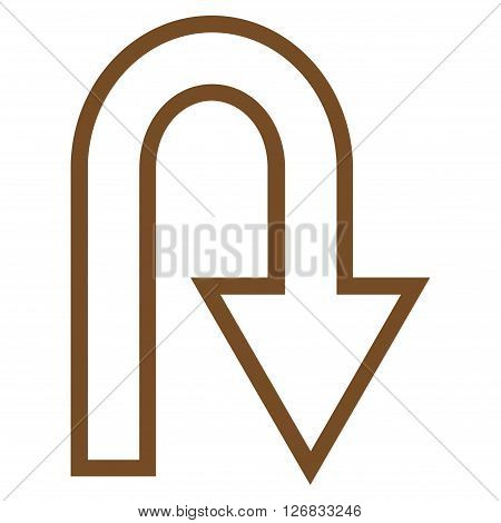 U Turn vector icon. Style is contour icon symbol, brown color, white background.