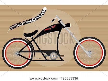 custom chopper cruiser bicycle, color vector illustration