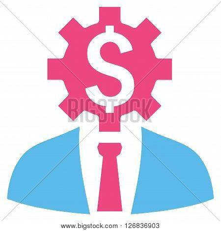 Office Worker vector icon. Style is bicolor flat symbol, pink and blue colors, white background.